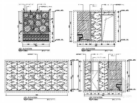 [新疆]2000平海洋主题餐厅室内装修施工图(含实景效果图)-[新疆]2000平海洋主题餐厅室内装修施工图洗手间立面图