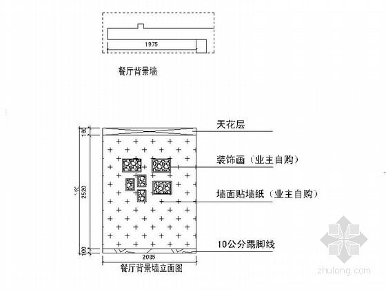 名人雅居三居室室内设计CAD施工图(含效果)背景墙立面图