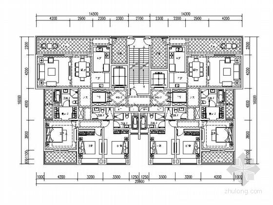 某高层住宅小区两梯两户平面图(174平米)