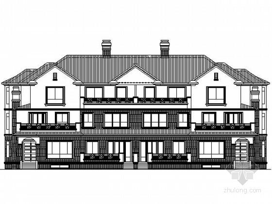 [哈尔滨]某三层联排别墅建筑施工图(290、370平方米)