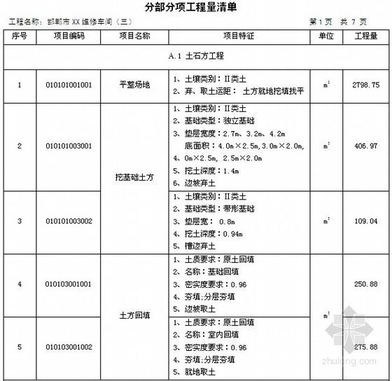 [毕业设计]河北钢结构厂房土建工程量清单及投标报价书(含工程量计算101页)