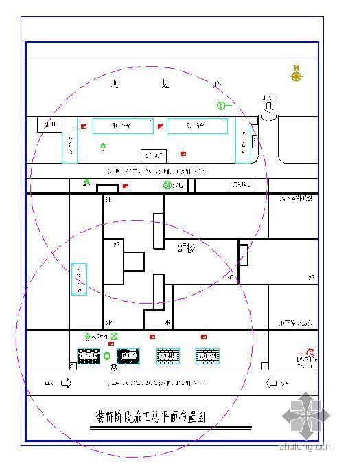 南通某多层综合楼施工现场平面布置方案(平面布置图)