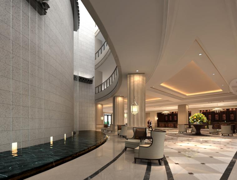 [安徽]知名大酒店室内空间设计施工图(含效果图+材料表)