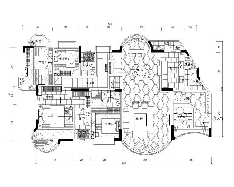 西安怡宝花园别墅室内设计施工图(含效果图)