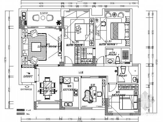 [绍兴]欧式风格三居室住宅装修CAD施工图(含效果图)