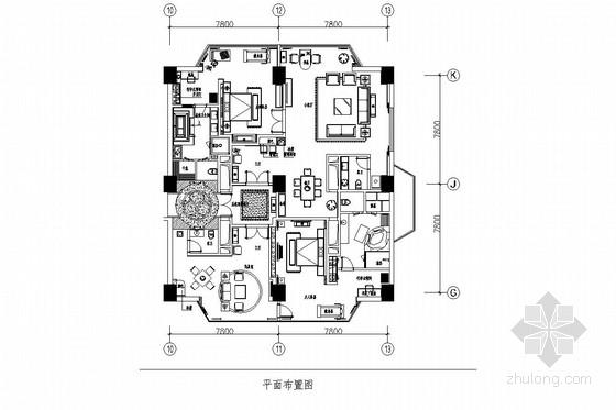 [深圳]某五星级商务酒店总统套房室内施工图(含效果图)