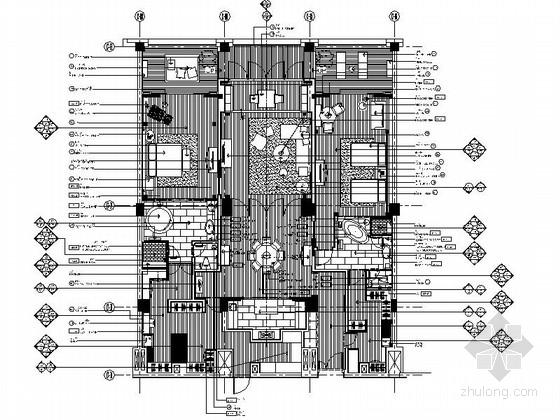[浙江]度假酒店客房室内装修CAD施工图(含效果)