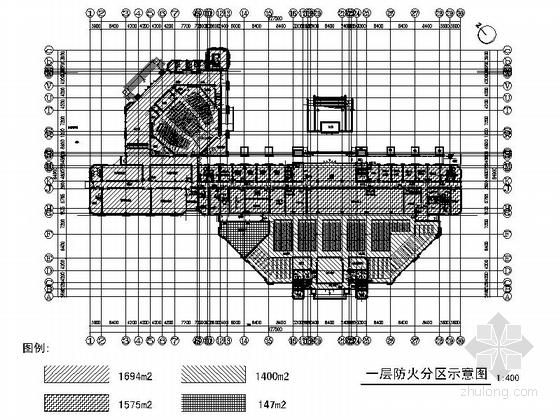 [上海]现代风格大学图书馆建筑施工图(甲级设计院含人防设计)-现代风格大学图书馆建筑人防平面图