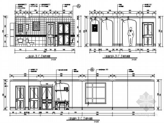 [辽宁]浪漫欧式风格两层别墅样板房室内装修施工图(含实景图)公卫儿童房立面图