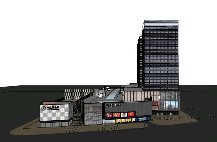 某知名大型现代风格商住综合体商业街SU模型