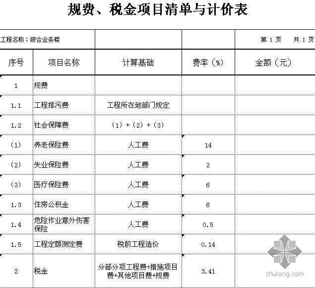 某中学教师住宅工程采用2008清单计价表格实例