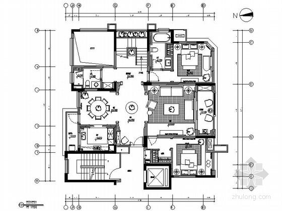 [安徽]斜屋顶复式顶层洋房室内装修施工图(含实景)