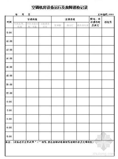 空调机房设备运行及故障巡检记录(空白表格)