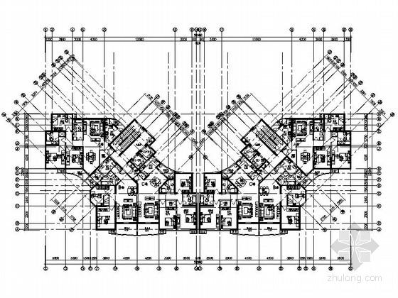 某高层住宅蝶形二梯三户型图(120、160平米)
