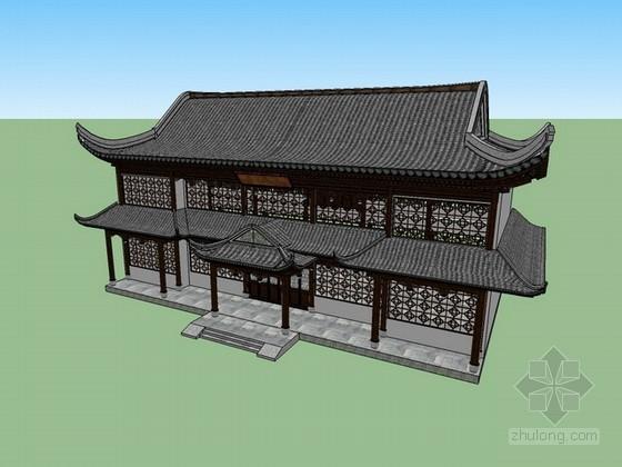 古建筑茶楼sketchup模型下载
