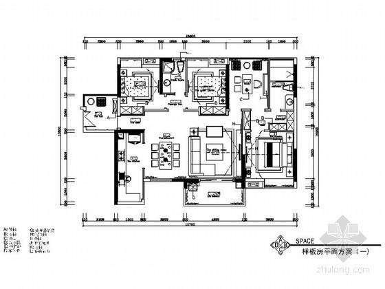 [湖南]高级现代风格三居室室内装修施工图(含效果图)