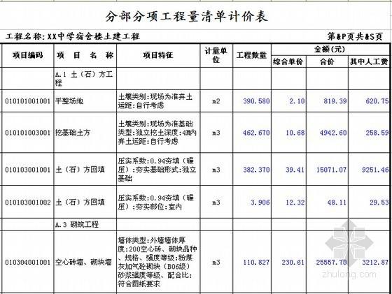 [安徽]学生公寓及食堂建筑安装工程预算书(含施工图纸)-分部分项工程量清单计价表