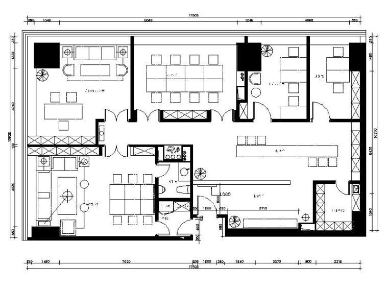 [新疆]中式禅意古朴投资办公空间室内设计施工图(含效果图)