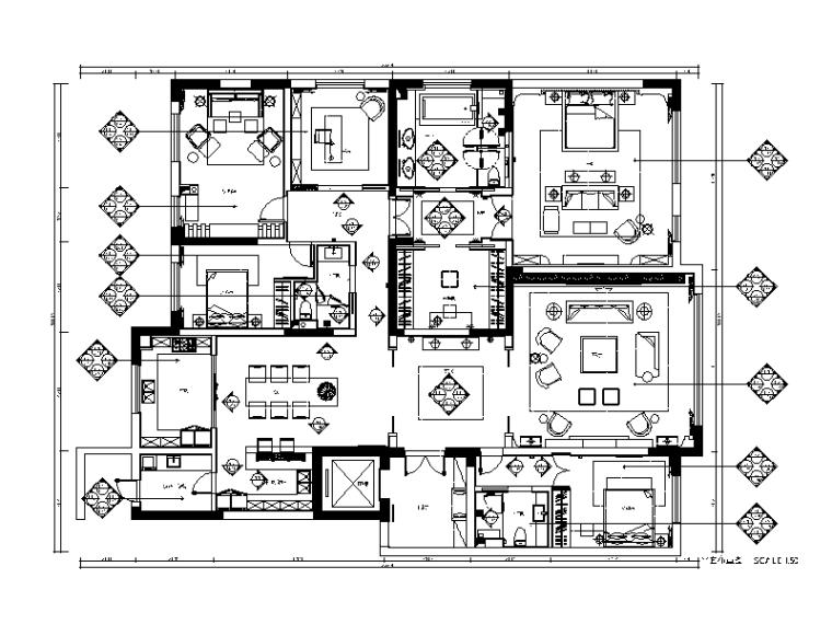 新作!整套简约风格样板房CAD施工图(含高清效果图)