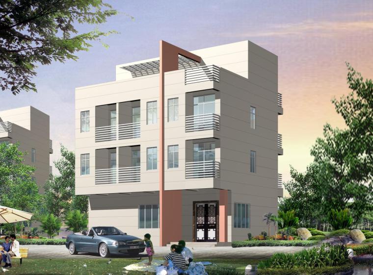 私人别墅建筑结构+效果图