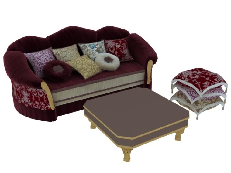古典大气沙发3D模型下载