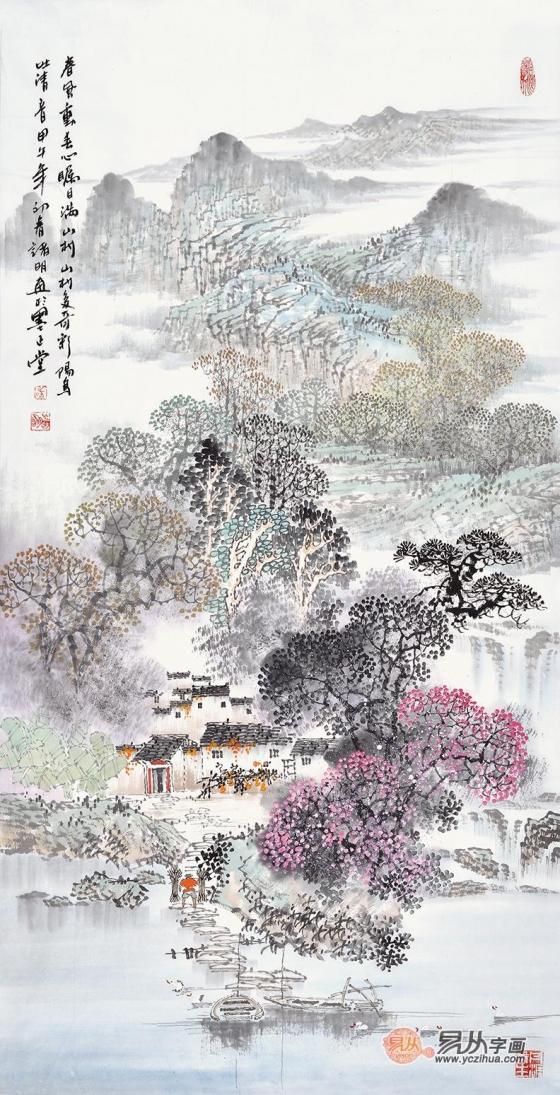 四,诸明三尺竖幅山水画《春风动春心》(作品来源:易从网)图片