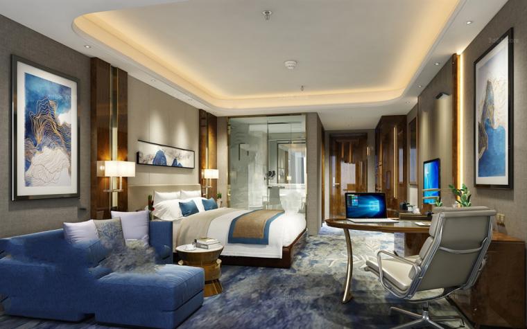 17套现代风格宾馆套房3D模型(下)
