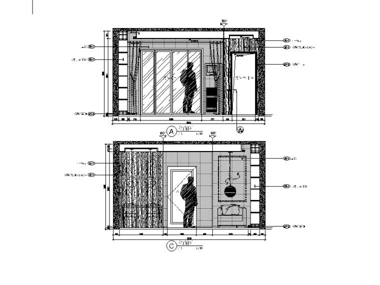 现代风格小户型设计CAD施工图(含效果图)_2