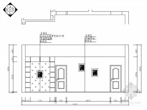 现代高档复式样板间装修施工图(含效果)餐厅立面图