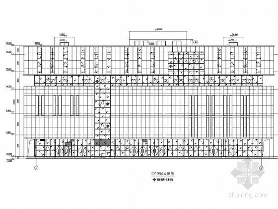 五层商业办公楼玻璃幕墙施工图(含车道雨棚 玻璃雨棚)