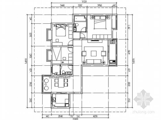 [武汉]简欧风情两居室样板间装修施工图(含效果)
