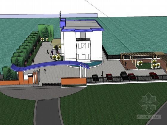滨水办公建筑SketchUp模型下载-滨水办公建筑