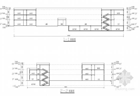 现代简约风格办公楼剖面图