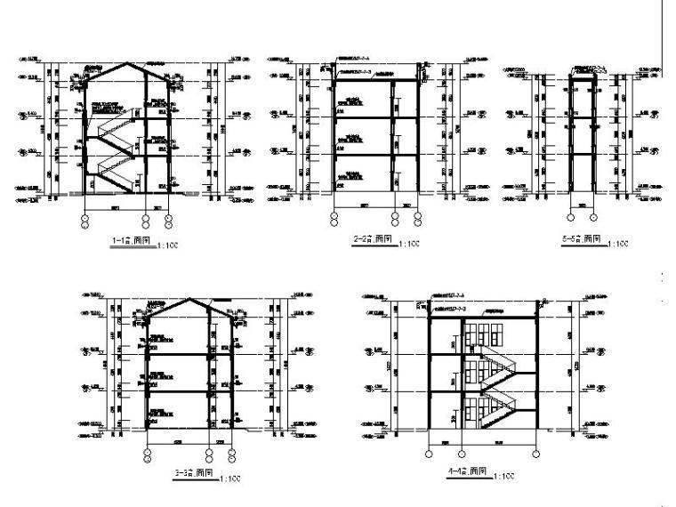 [宁夏]经典学院风格中学教学楼建筑施工图-经典学院风格中学教学楼剖面图