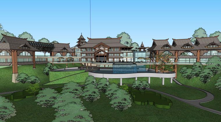 中式古典度假村酒店建筑设计模型