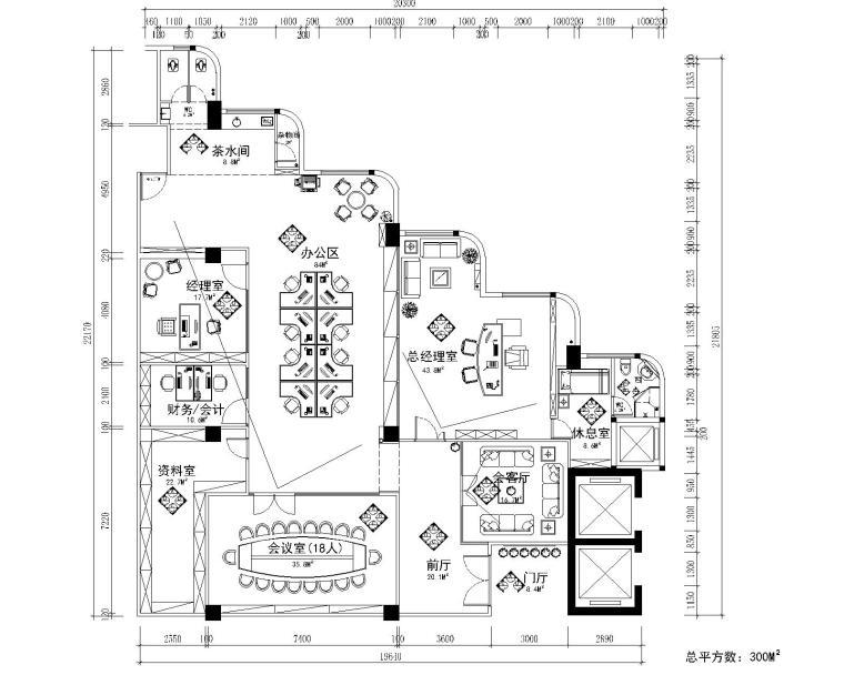 [深圳]富春大厦某咨询公司办公室装修CAD施工图+高清效果图