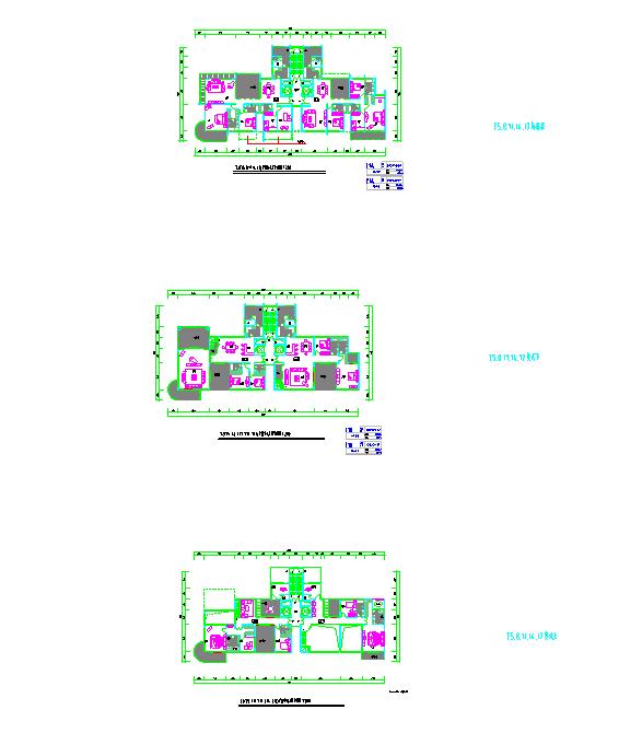 方案北京某高层二梯二住宅楼户型图(200平方米)