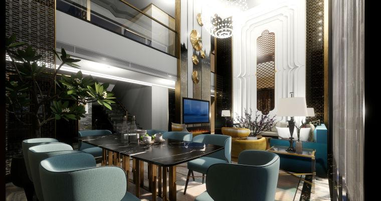 豪华loft室内设计客餐厅模型设计(2018年)-X 1