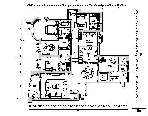 [福州]欧式五室四卫三厅住宅样板间施工图(含效果图)