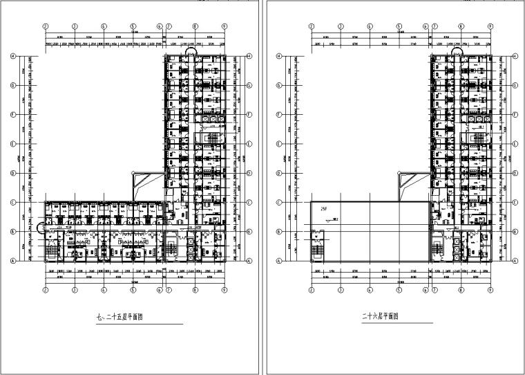 3套商住综合楼建筑设计施工图CAD-现代高层商住综合楼建筑设计居住部分平面图