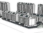 灰白色建筑楼房模型设计