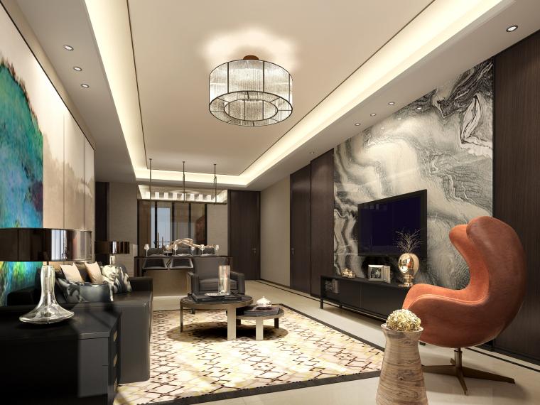 [北京]万科翡翠长安现代中式轻奢样板间设计方案+CAD全套施工图+物料书+效果图_16