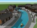 沿河古建筑商业步行街建筑SU模型
