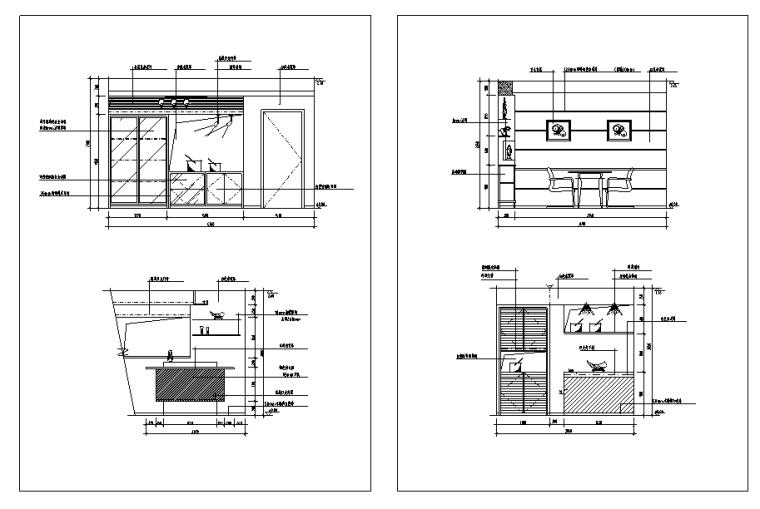 餐厅经典分空间CAD立面图库
