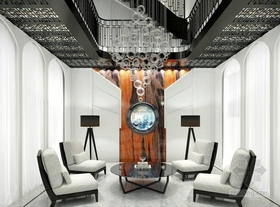 [河北]优雅时尚又艺术的别墅CAD施工图(含效果图)-优雅时尚又艺术的别墅CAD施工图(含效果图)效果图