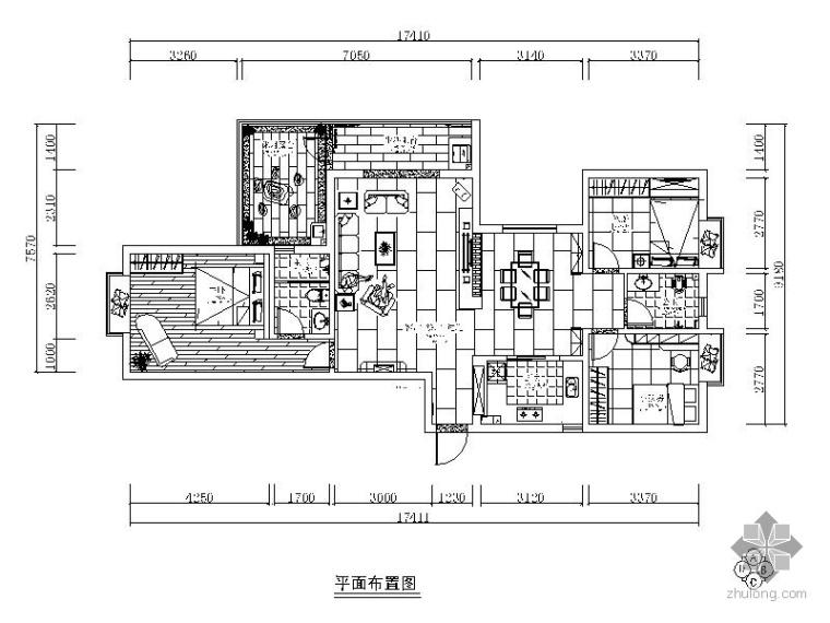 [湖南]现代简约三居室内装修图(含效果)