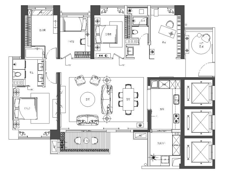 [深圳]壹方中心现代风格样板间设计施工图CAD+软装设计+效果图