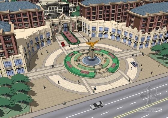 [山东]国际都市静雅住宅区规划设计方案-鸟瞰效果图
