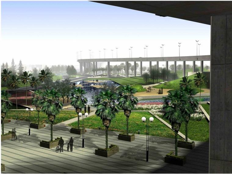 [江苏]苏州市沪宁高速公路西出入口景观规划方案设计(现代风格)-B段透视图