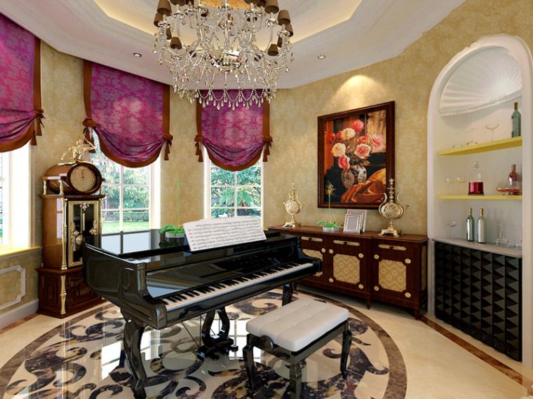 室内钢琴区3D模型下载